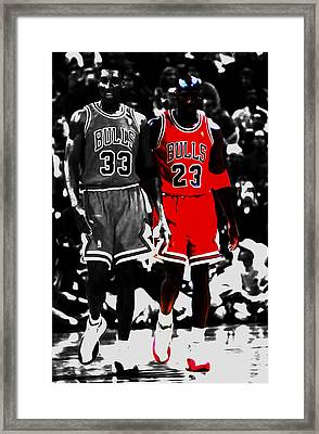 Jordan And Pippen Framed Print by Brian Reaves