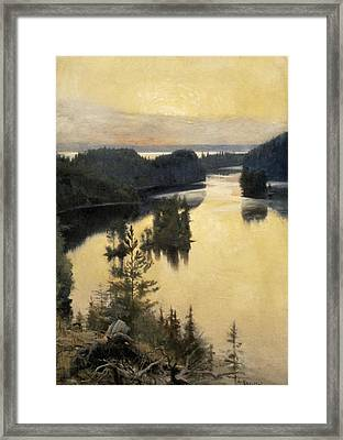 Kaukola Ridge At Sunset Framed Print by Albert Edelfelt