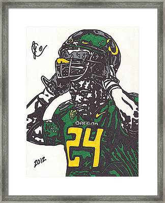 Framed Print featuring the drawing Kenjon Barner 1 by Jeremiah Colley