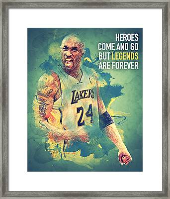 Kobe Bryant Framed Print by Taylan Apukovska