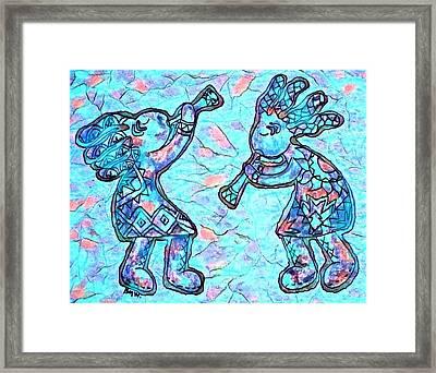 2 Kokopellis In Turquoise Framed Print