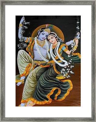 Krishna Radha On Silk Framed Print