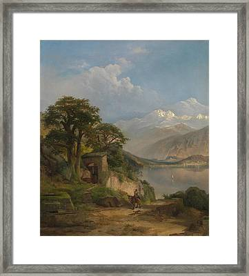 Lake Como Framed Print by Thomas Moran