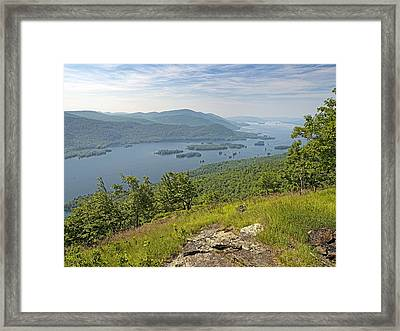 Lake George From The Tongue Mountain Range New York  Framed Print by Brendan Reals