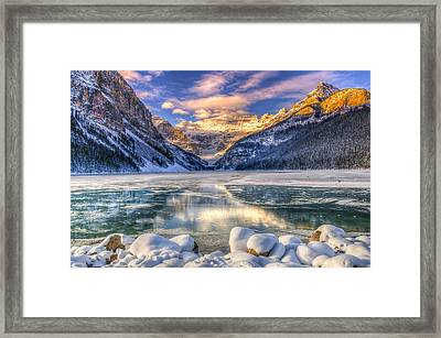 Lake Louise At Daybreak Framed Print by Brandon Smith