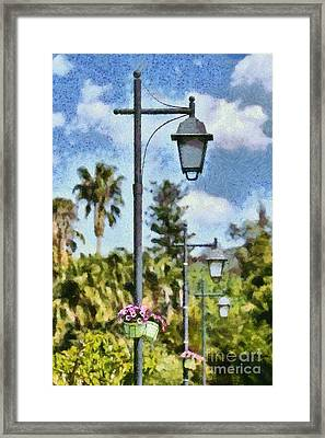 Lampost With Flowers In Nafplio Town Framed Print
