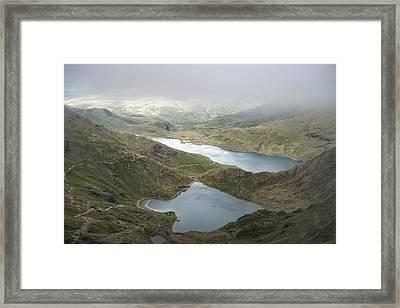 Landscape Image Of Glaslyn And Llyn Llydaw In Snowdonia With Gly Framed Print