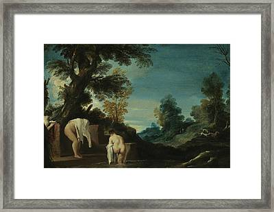 Landscape With Bathing Women Framed Print