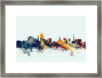 Lansing Michigan Skyline Framed Print by Michael Tompsett