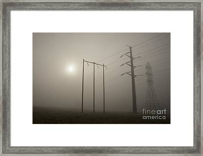 Large Transmission Towers In Fog Framed Print