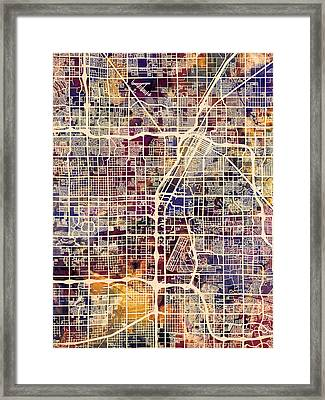 Las Vegas City Street Map Framed Print by Michael Tompsett