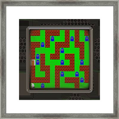 Lcd Screen With Retro Style Game Generated Texture Framed Print by Miroslav Nemecek