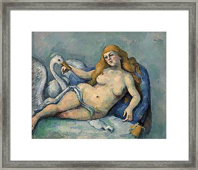 Leda And The Swan Framed Print by Paul Cezanne