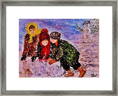Framed Print featuring the painting Let It Snow..let It Snow..  by Cristina Mihailescu