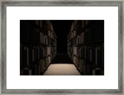 Library Bookshelf Aisle Framed Print