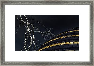 Lightning Strike Framed Print by Martin Newman