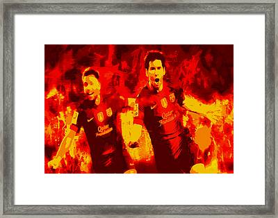 Lionel Messi And Jordi Alba  Framed Print by Brian Reaves