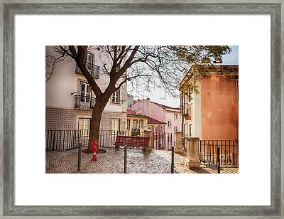 Framed Print featuring the photograph Lisbon's City Street by Ariadna De Raadt