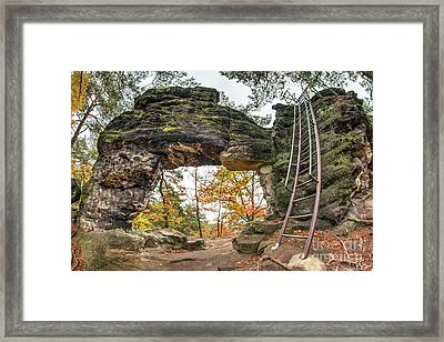 Framed Print featuring the photograph Little Pravcice Gate - Famous Natural Sandstone Arch by Michal Boubin