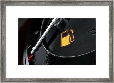 Low Petrol Dashboard Light Framed Print by Allan Swart