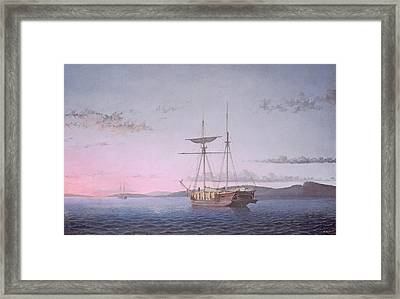 Lumber Schooners At Evening On Penobscot Bay Framed Print by Fitz Henry Lane