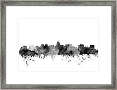Madison Wisconsin Skyline Framed Print by Michael Tompsett