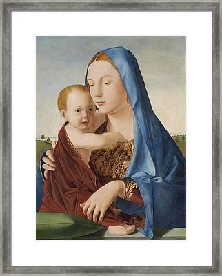 Madonna And Child Framed Print by Antonello da Messina