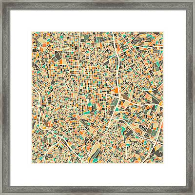 Madrid Map Framed Print by Jazzberry Blue