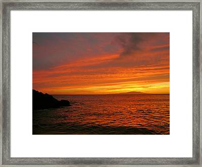 Makena Sunset Framed Print by Stephen  Vecchiotti