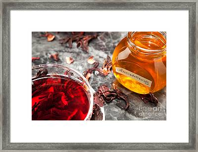 Mallow Tea In Glass Cup With Honey Framed Print by Wolfgang Steiner