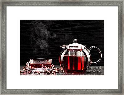 Mallow Tea In Glass With Dried Mallow Blossoms Framed Print