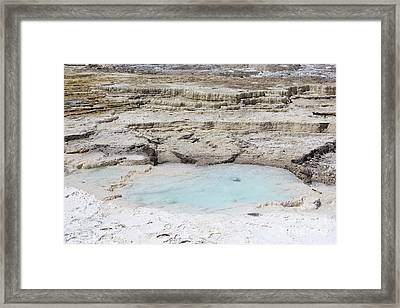 Mammoth Hot Springs Upper Terraces In Yellowstone National Park Framed Print by Louise Heusinkveld