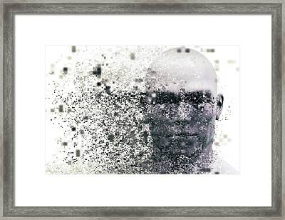Man Face With Pixel Dispersion Effect. Concept Of Technology, Modern Science But Also Disintegration Framed Print