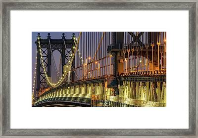 Manhattan Bridge Framed Print by Randy Lemoine