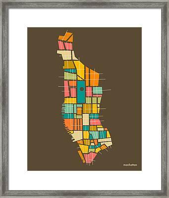 Manhattan Map Framed Print by Jazzberry Blue