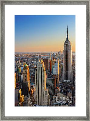 Manhattan View At Sunset Framed Print by Henk Meijer Photography