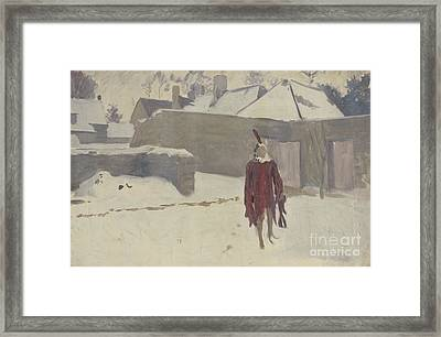 Mannikin In The Snow Framed Print by John Singer Sargent