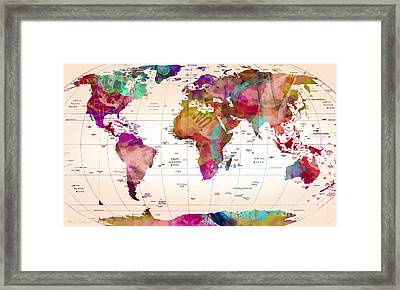 Map Of The World   Framed Print by Mark Ashkenazi