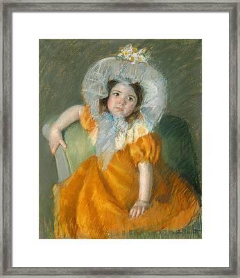 Margot In Orange Dress Framed Print by Mary Cassatt