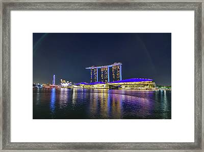 Marina Bay Sands And The Artscience Museum In Singapore Framed Print