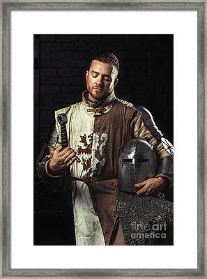 Medieval Knight In Armour Framed Print
