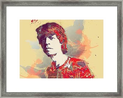 Mick Jagger  Framed Print by Elena Kosvincheva