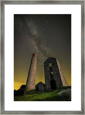 Milky Way Over Old Mine Buildings. Framed Print by Andy Astbury