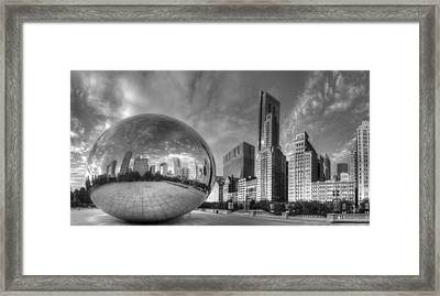 Millennium Park In Black And White Framed Print by Twenty Two North Photography