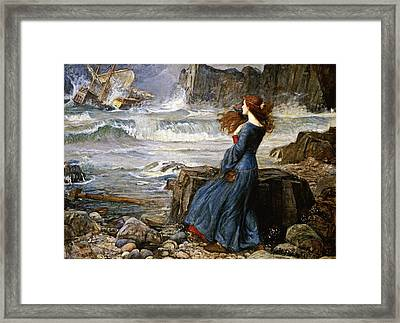 Miranda - The Tempest Framed Print by John William Waterhouse
