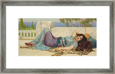Mischief And Repose Framed Print by John William Godward
