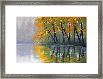 Misty Lake Framed Print by Graham Gercken