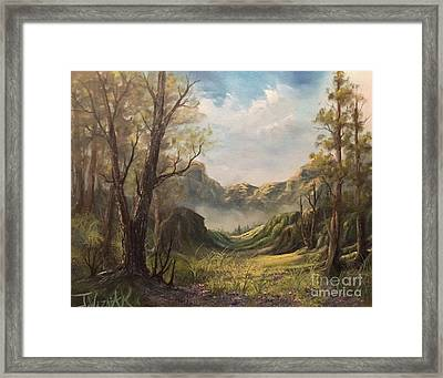 Misty Valley Framed Print