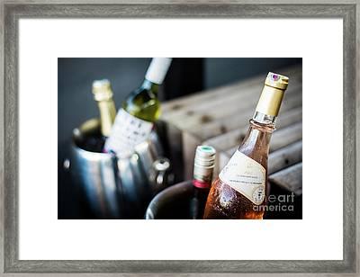 Mixed Bottles Of Gourmet Wine In Ice Chiller Bucket Framed Print