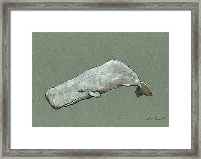 Moby Dick The White Sperm Whale  Framed Print by Juan  Bosco